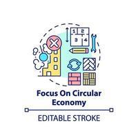 concentrandosi sull'icona del concetto di economia circolare vettore