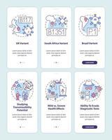 mutazioni di virus nella schermata della pagina dell'app mobile con concetti vettore