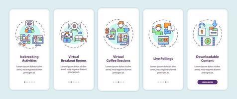 suggerimenti per il successo degli eventi virtuali per l'onboarding della schermata della pagina dell'app mobile con concetti vettore