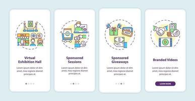 sponsorizzazione di idee per eventi virtuali onboarding nella schermata della pagina dell'app mobile con concetti vettore