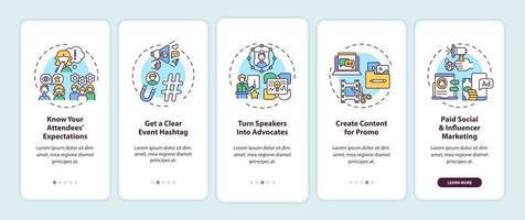 suggerimenti di marketing di eventi online onboarding schermata della pagina dell'app mobile con concetti vettore