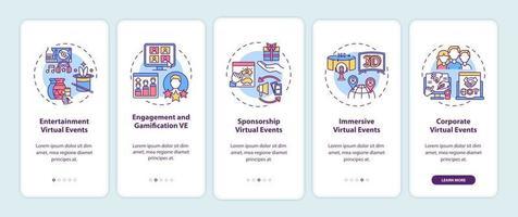 tipi di eventi virtuali onboarding schermata della pagina dell'app mobile con concetti vettore