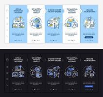 modello di vettore di onboarding processo di investimento
