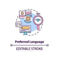 icona del concetto di lingua preferita vettore