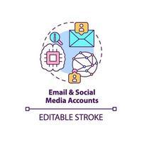 icona del concetto di account di posta elettronica e social media vettore