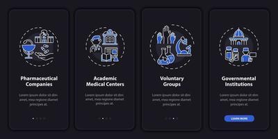 ricerca donazione onboarding schermata della pagina dell'app mobile con concetti vettore