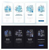 futuro edificio per uffici onboarding schermata della pagina dell'app mobile con concetti vettore