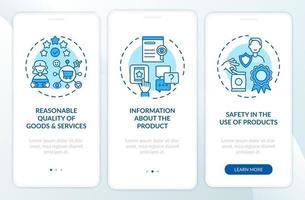 Schermata della pagina dell'app mobile di onboarding dei diritti dei consumatori con concetti vettore