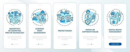 Schermata della pagina dell'app mobile per l'inserimento di criteri anticoncorrenziali con concetti vettore