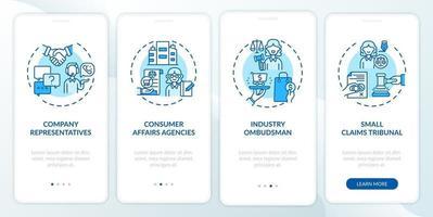 schermata della pagina dell'app mobile onboarding per la tutela dei consumatori con concetti vettore