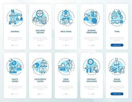 pratiche imprenditoriali per l'onboarding della schermata della pagina dell'app mobile con i concetti impostati vettore