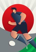 Vettore dei giocatori di calcio della coppa del Mondo del Giappone