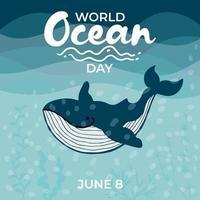 banner della carta della giornata mondiale degli oceani vettore
