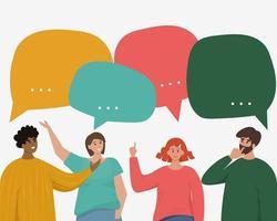 concetto di bolle di discorso di dialogo di rete sociale vettore