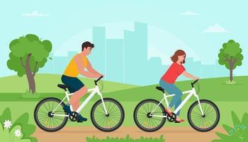 persone che vanno in bicicletta nel parco in primavera o in estate vettore
