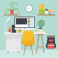 casa sul posto di lavoro con scrivania, libro, globo, interno della stanza vettore