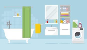 bagno con vasca, armadietti, lavatrice e accessori vari vettore