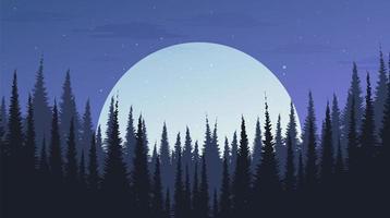 bella foresta di pini notturni con la luna, sfondo del paesaggio, concept design serale vettore
