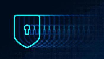 tecnologia digitale al rallentatore scudo sfondo di concetto di sicurezza, protezione e connessione vettore