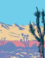 catena montuosa del castello e albero di joshua nel deserto del mojave vettore