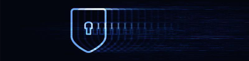 Panorama slow motion tecnologia digitale scudo di sicurezza vettore