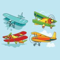 Cute Cartoon Biplane Set vettore