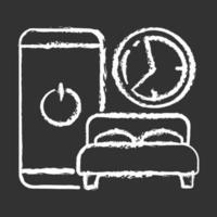 icona di gesso igiene del sonno bianco su sfondo nero vettore