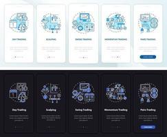 stili di scambio onboarding schermata della pagina dell'app mobile con concetti vettore