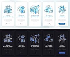 schermata della pagina dell'app mobile di onboarding del piano commerciale con concetti vettore