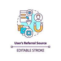 icona del concetto di origine referral utente vettore