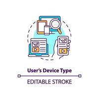 icona del concetto di tipo di dispositivo utente vettore