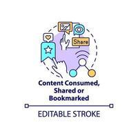 contenuto consumato, condiviso, icona del concetto con segnalibro vettore