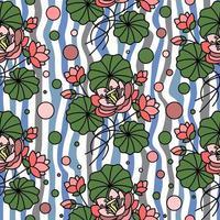 ondulato sfondo trasparente con fiori di loto rosa vettore