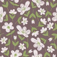 carta da parati viola con fiori bianchi dipinti vettore