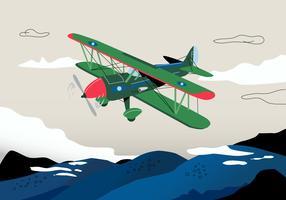 Retro illustrazione di vettore del fondo del biplano di guerra