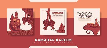 modello di post ramadan, set di modelli di post sui social media vettore