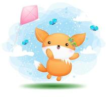 cute doodle girl baby fox volare con aquiloni personaggio dei cartoni animati vettore