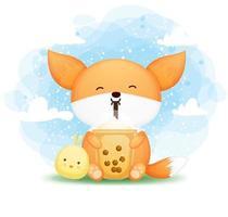 carino doodle baby fox tenendo il tè boba con il personaggio dei cartoni animati amico pulcino vettore