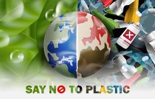 salva il mondo, dì no allo sfondo del concetto di plastica. vettore