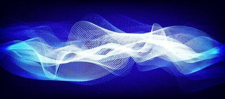 tecnologia delle onde sonore digitali blu vettore