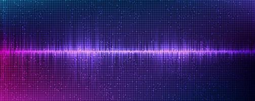 onda sonora digitale leggera su sfondo viola vettore