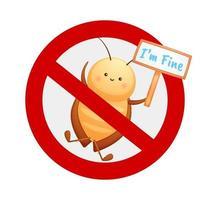 carino nessun personaggio dei cartoni animati di segno di scarafaggio vettore