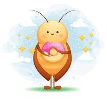 carino scarafaggio mangia un personaggio dei cartoni animati di ciambella vettore