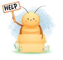 carino scarafaggio che tiene un personaggio dei cartoni animati di cartello vettore