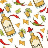 seamless con cibo messicano disegnato a mano vettore
