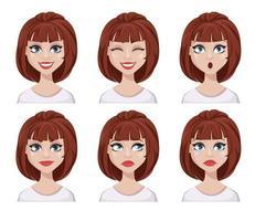espressioni del viso di donna con capelli castani vettore