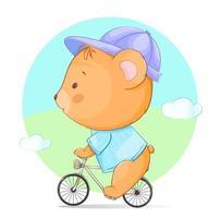 simpatico orsetto in sella a una bicicletta vettore