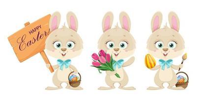 Buona Pasqua. simpatico coniglietto, set di tre pose. vettore