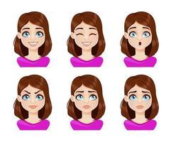 espressioni del viso di donna in camicetta viola vettore