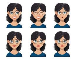 espressioni del viso di bella donna con gli occhiali vettore